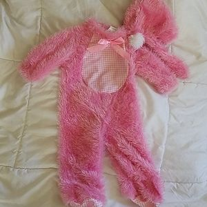 Pink Bunny Jumpsuit with Bunny Ears Hat